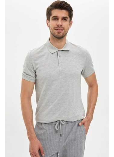 DeFacto Polo Yaka Regular Fit T-Shirt Gri